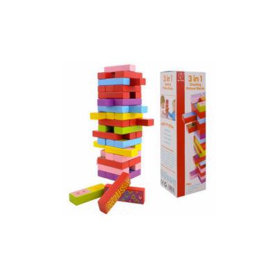 3 játék 1-ben ( jenga, dominó, memória )